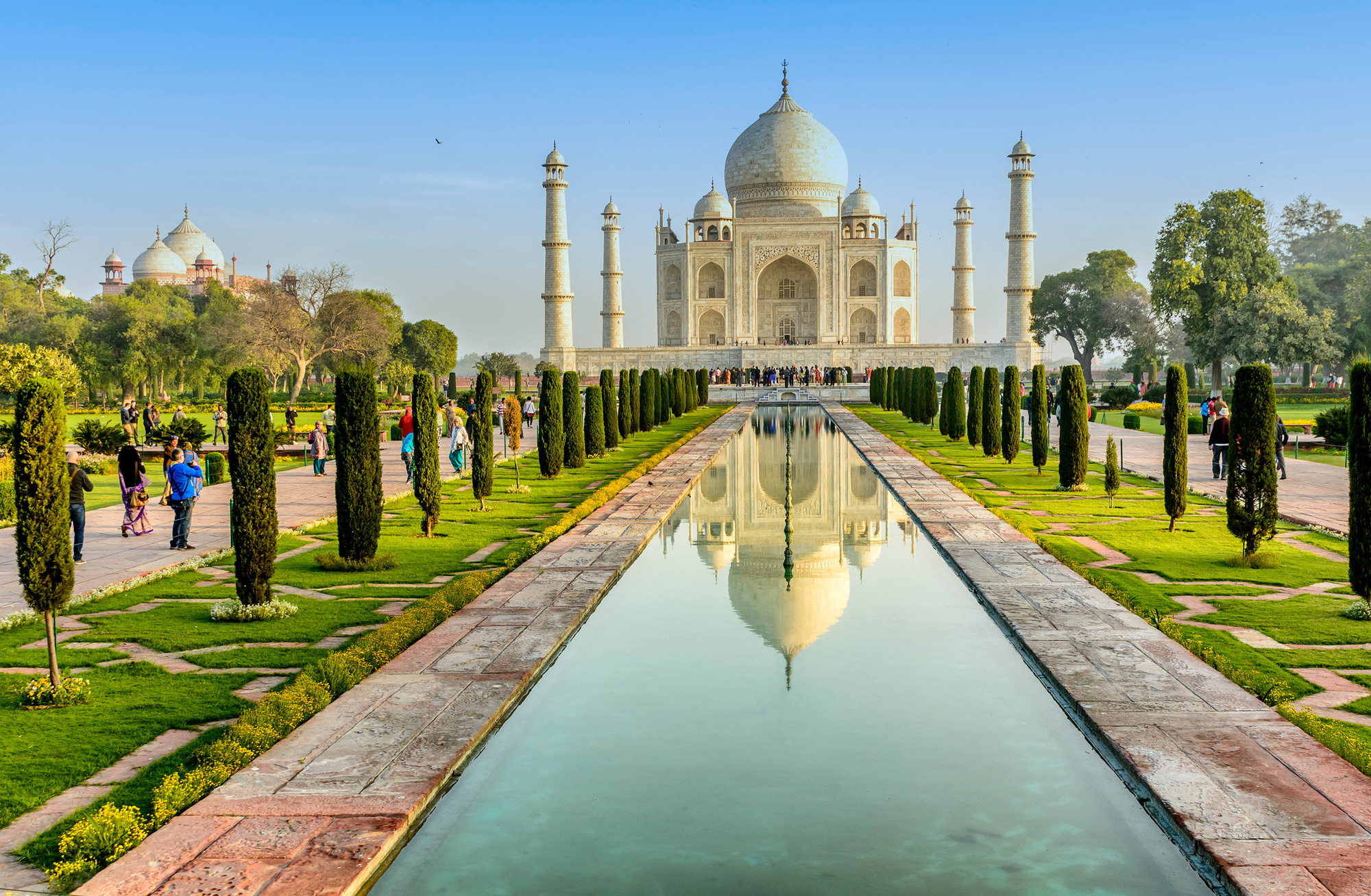 Taj Mahal, Blue sky, Travel to India