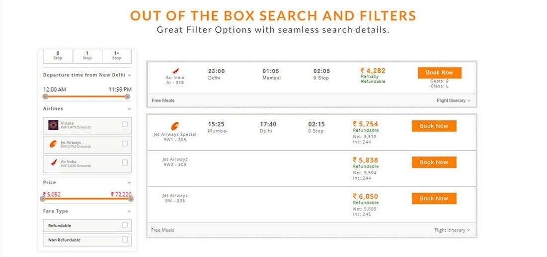 B2B Travel Agency Flexible Search Filters with Net Fare and Commissions